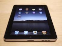 <p>Un primo piano dell'iPad, il tablet pc di Apple. REUTERS/Kimberly White</p>