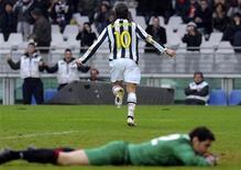 <p>Del Piero esulta dopo il gol. REUTERS/Paolo Bona (ITALY - Tags: SPORT SOCCER)</p>