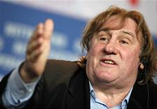 """<p>Actor Gerard Depardieu speaks during a news conference to promote the movie """"Mammuth"""" at the Berlinale International Film Festival in Berlin, February 19, 2010. REUTERS/Christian Charisius</p>"""