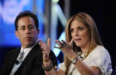 """<p>Executive producers Ellen Rakieten (R) and Jerry Seinfeld (L) participate in a panel for the NBC show """"The Marriage Ref"""" during the NBC Universal sessions at the Television Critics Association winter press tour in Pasadena, California January 10, 2010. REUTERS/Phil McCarten</p>"""