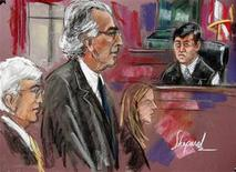 <p>Disgraced financier Bernard Madoff (2nd L) attends his sentencing hearing in New York in this court artist's sketch completed June 29, 2009 file photo. REUTERS/Shepard</p>