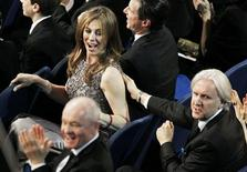 "<p>Director Kathryn Bigelow (L) of the film ""The Hurt Locker"" is congratulated by director James Cameron (R) after it won the award for best sound mixing during the 82nd Academy Awards in Hollywood March 7, 2010. REUTERS/Gary Hershorn</p>"