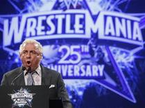 """<p>WWE Hall of Fame Wrestler Ric """"Nature Boy"""" Flair speaks during a press conference for the 25th Anniversary of WrestleMania in New York March 31, 2009. REUTERS/Brendan McDermid</p>"""