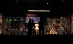 <p>Palestinian artists perform at al-Shawa theatre in Gaza City, March 9, 2010. REUTERS/Suhaib Salem</p>