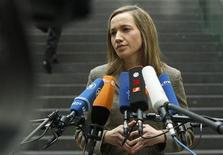 <p>German Family Minister Kristina Schroeder speaks to journalists after a news conference about the government's plans in reaction to abuse cases in educational institutions in Berlin March 24, 2010. REUTERS/Thomas Peter</p>