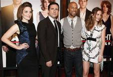 """<p>(L-R) Cast members Tina Fey, Steve Carell, Common, and Leighton Meester pose for photographers as they arrive at the premiere of """"Date Night"""" in New York City April 6, 2010. REUTERS/Jessica Rinaldi</p>"""