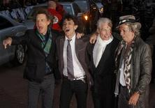 <p>British rock band The Rolling Stones (L-R) Mick Jagger, Ronnie Wood, Charlie Watts and Keith Richards arrive at the premiere of their new film directed by Martin Scorsese entitled ' Shine A Light ' in Leicester Square, London April 2, 2008. REUTERS/Kieran Doherty</p>