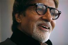 <p>Indian actor Amitabh Bachchan reacts during the Asian Film Awards news conference in Hong Kong March 23,2010. REUTERS/Tyrone Siu</p>