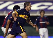 <p>Martin Palermo do Boca Juniors comemora gol sobre o San Lorenzo pelo Campeonato Argentino e deve estar na seleção argentina que vai à Copa. REUTERS/Marcos Brindicci</p>