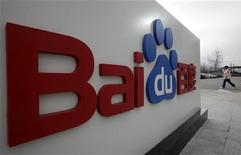 <p>Logo di Baidu a Pechino, foto d'archivio. REUTERS/Jason Lee</p>