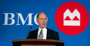 <p>Bank of Montreal (BMO) Financial Group President and Chief Executive Officer Bill Downe addresses shareholders at the annual general meeting in Winnipeg, Manitoba March 23, 2010. REUTERS/Fred Greenslade</p>
