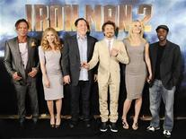 <p>(L-R) Cast members Mickey Rourke, Scarlett Johansson, director Jon Favreau, Robert Downey Jr, Gwyneth Paltrow and Don Cheadle pose during a photocall for the movie Iron Man 2 in Los Angeles, California April 23, 2010. REUTERS/Gus Ruelas</p>