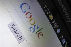 <p>A Google Inc page is shown on a blackberry phone in Encinitas, California April 13, 2010. REUTERS/Mike Blake</p>