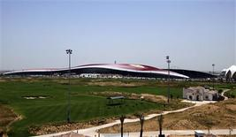 <p>A general view of the Ferrari World theme park, which is currently under construction, on Yas Island in Abu Dhabi June 2, 2010. REUTERS/Mosab Omar</p>
