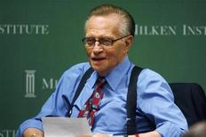 "<p>CNN talk show host Larry King is shown prior to moderating a session ""A Conversation With Sumner Redstone: If You Could Live Forever, What Would Life Be Like?"" at the 2009 Milken Institute Global Conference in Beverly Hills,California April 29, 2009. REUTERS/Fred Prouser</p>"