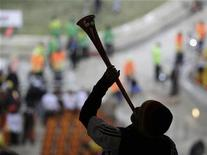 <p>A fan blows the vuvuzela before the 2010 World Cup Group D soccer match between Germany and Ghana at Soccer City stadium in Johannesburg June 23, 2010. REUTERS/Ivan Alvarado</p>
