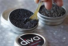 "<p>Fresh caviar is seen at France's caviar fish farm ""Le Moulin de Cassadote"" in Biganos, south western France, February 24, 2010. REUTERS/Regis Duvignau</p>"