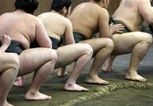 <p>Des sumos à l'entraînement à Tokyo. L'Association japonaise de sumo va fournir aux lutteurs de cette discipline ancestrale des iPads, la tablette numérique d'Apple, parce qu'elle convient mieux que les téléphones mobiles classiques à leurs doigts boudinés. /Photo d'archives/REUTERS/Kiyoshi Ota</p>