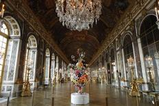 "<p>The sculpture ""Flower Matango"" by Japanese artist Takashi Murakami is displayed at the Chateau de Versailles (Versailles Palace), outside Paris, September 9, 2010. REUTERS/Benoit Tessier</p>"