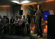 """<p>Facebook CEO Mark Zuckerberg speaks while unveiling the company's new location services feature called """"Places"""" during a news conference at Facebook headquarters in Palo Alto, California in this August 18, 2010 file photo. REUTERS/Robert Galbraith</p>"""