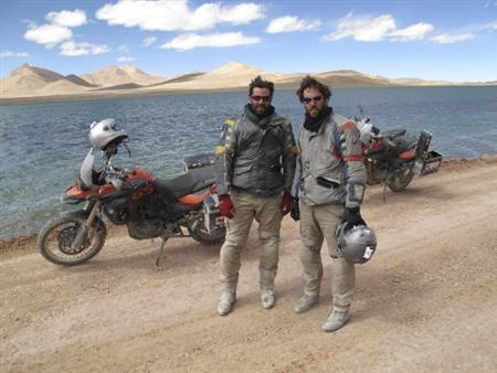 PCanadian Brothers Ryan R And Colin Pyle Pose For A Photograph During Their Motorcycle Journey Around China On The Highway G219 Also Known As