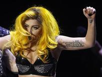 <p>Pop singer Lady Gaga performs during her concert in Budapest November 7, 2010. REUTERS/Laszlo Balogh</p>
