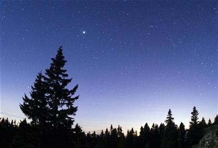A meteor streaks past stars in the night sky at the Mont-Tendre near Montricher in the Jura, north of Geneva, early August 13, 2009. REUTERS/Denis Balibouse