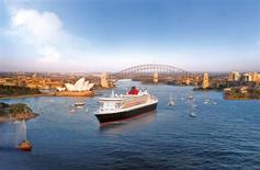 <p>A Cunard cruise ship passes through Sydney Harbour in an image courtesy of the cruise line. REUTERS/Cunard/Handout</p>