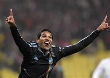 <p>Atacante brasileiro Brandão comemora gol em vitória de 3 x 0 do Marseille sobre o Spartak. REUTERS/Denis Sinyakov</p>