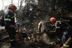 <p>Греческие пожарники помогают тушить пожар в районе горы Кармель в Израиле 5 декабря 2010 года. Лесные пожары в районе горы Кармель на севере Израиля, в которых погибли 42 человека, потушены, сообщила израильская полиция в понедельник. REUTERS/Amir Cohen</p>