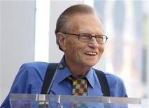 <p>CNN talk show host Larry King speaks at ceremonies unveiling comedian Bill Maher's star on the Hollywood Walk of Fame in Hollywood September 14, 2010. REUTERS/Fred Prouser</p>