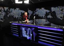 """<p>Larry King sits down during the final broadcast of """"Larry King Live"""" at the Los Angeles studio December 16, 2010. REUTERS/Mathieu Young/CNN/Handout</p>"""
