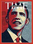 <p>A handout photo shows the cover image of the December 29, 2008/January 5, 2009 double issue. The cover image was by ex-street artist Shephard Fairey. REUTERS/Shephard Fairey/TIME/Handout</p>