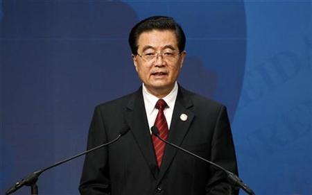 China's President Hu Jintao speaks at the APEC Summit in Yokohama, south of Tokyo November 13, 2010. REUTERS/Vivek Prakash
