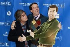 "<p>Cast member Ed Helms and director Miguel Arteta (L) pose with a cardboard cutout of Helms' character from the film ""Cedar Rapids"" at the movie's premiere during the Sundance Film Festival in Park City, Utah January 23, 2011. REUTERS/Lucas Jackson</p>"