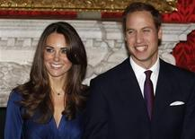 <p>Britain's Prince William and his fiancee Kate Middleton (L) pose for a photograph in St. James's Palace, central London in a November 16, 2010 file photo. REUTERS/Suzanne Plunkett</p>