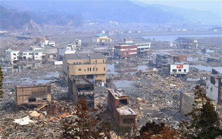 A destroyed landscape is pictured in Otsuchi town, Iwate Prefecture in northern Japan, after an earthquake and tsunami struck the area, March 14, 2011. REUTERS/Kyodo