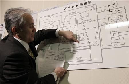 A Tokyo Electric Power official points at an illustration of a nuclear plant as he answers reporters' questions at the disaster center in Fukushima, northern Japan March 15, 2011. REUTERS/Yuriko Nakao