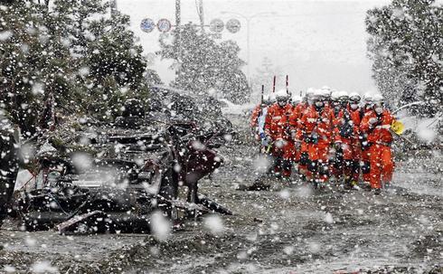 Snowfall in Sendai
