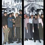 """<p>A mural image showing (left)A member of the IWW or """"Wobblies"""" trying to organize the Maine woodsmen and The Textile Workers and a mural image depicting(right)Young women were often sent to the mills by their families, who could not, or would not support them. REUTERS/Judy Taylor/Handout</p>"""