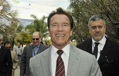 <p>Former California Governor Arnold Schwarzenegger visits the yearly MIPTV, the International Television Programs Market, in Cannes, southeastern France, April 4, 2011. REUTERS/Jean-Pierre Amet</p>