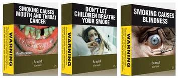 <p>A combination photo shows illustrations obtained by Reuters of some of the proposed models of cigarettes packs April 7, 2011. Australia's government has unveiled plans for some of the world's toughest anti-smoking laws, saying it would force big tobacco companies to use plain green packaging for cigarettes despite the threat of industry legal action. REUTERS/Australian Government/Handout</p>