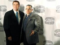 """<p>Actor John Travolta poses with John Gotti Jr. during a news conference to promote """"Gotti: Three Generations"""" in New York, April 12, 2011. REUTERS/Brendan McDermid</p>"""