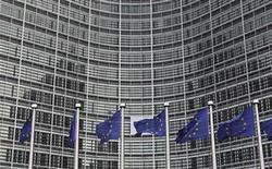 <p>Foto de archivo de una serie de banderas de la Unión Europea a salida de su sede en Bruselas, oct 27 2010. La Unión Europea investigará si las operadoras de telecomunicaciones están dando un acceso justo a Internet y podría introducir normas más estrictas para proteger a los consumidores, dijo el martes la comisaria de Telecomunicaciones, Neelie Kroes. REUTERS/Francois Lenoir</p>