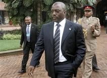 <p>File photo of Democratic Republic of Congo's President Joseph Kabila arriving for the summit on the ongoing crisis in eastern Congo in Kenya's capital Nairobi, November 7, 2008. REUTERS/Thomas Mukoya</p>