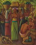 """<p>Photo shows, Mexican Miguel Covarrubias' 1932 oil on canvas """"Offering of Fruits for the Temple."""" Painted in Bali, the work fetched $1.02 million in Christie's Latin American sale on Thursday evening, setting a record for the artist at auction. REUTERS/Christie's/Handout</p>"""
