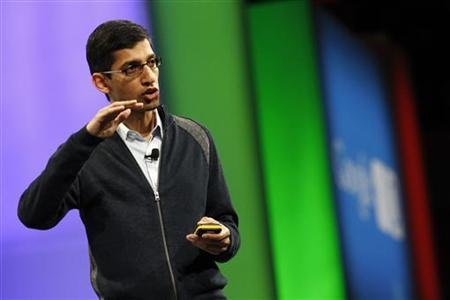 Sundar Pichai, senior vice president of Chrome at Google, discusses recent advancements and changes to Chrome during the keynote address at the Google I/O Developers Conference in the Moscone Center in San Francisco, California, May 11, 2011. REUTERS/Beck Diefenbach