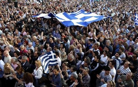 Protesters take part in a rally against a new austerity package, outside the University of Athens May 31, 2011.