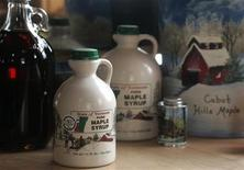 <p>Bottles of maple syrup made by Marcia Maynard and Ken Denton are seen in Cabot, Vermont April 1, 2009. REUTERS/Herb Swanson</p>