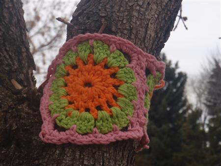A yarnbombing example in an undated photo courtesy of originator Joann Matvichuk. REUTERS/Handout